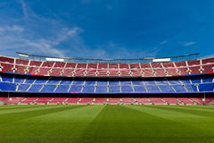 Leeren Sie Fußball-Stadion Lizenzfreie Stockfotos
