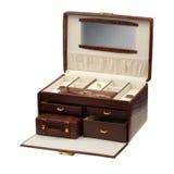 Leeren Sie geöffneten braunen Kasten für Schmucksachen und Trinkets Stockfotos