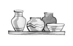 Leeren Sie gemalte Tongefäße für Wasser, Öl, Milch oder Wein der unterschiedlichen Größe und der Form im Markt für Verkauf an ein stock abbildung
