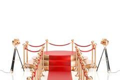 Leeren Sie goldenes Podium mit Seil des roten Teppichs und der Sperre, 3D stock abbildung