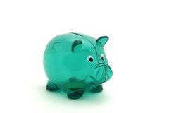 Leeren Sie grüne piggy Querneigung Lizenzfreie Stockbilder