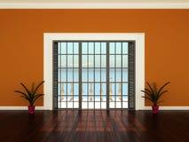 Leeren Sie Innenraum mit Fenstern zur Terrasse Stockfotos