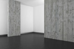Leeren Sie modernes Badezimmer mit Betonmauer und dunklem Boden lizenzfreie abbildung