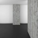 Leeren Sie modernes Badezimmer mit Betonmauer und dunklem Boden Stockfotografie