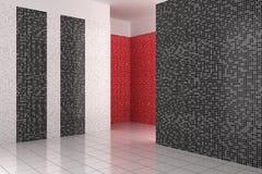 Leeren Sie modernes Badezimmer mit den schwarzen, weißen und roten Fliesen stock abbildung
