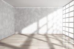 Leeren Sie Raum mit großem Fenster Wiedergabe 3d Stockfotografie