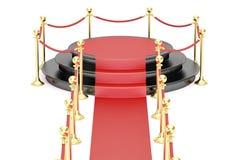 Leeren Sie schwarzes Podium mit Seil des roten Teppichs und der Sperre lizenzfreie abbildung