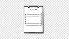 Leeren Sie sich, um Liste auf Klemmbrett mit Papierstapel A4 zu tun Lokalisiert auf Tansparent-Hintergrund-Vektor-Schablone vektor abbildung