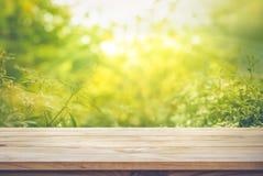 Leeren Sie sich von der hölzernen Tischplatte auf Unschärfe der neuen grünen Zusammenfassung vom Garten