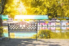 Leeren Sie sich von einem Stuhl, bunt vom Blatt in der Herbstsaison Lizenzfreies Stockbild