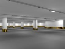 Leeren Sie Untertagewiedergabe des Parkplatzes 3D Lizenzfreies Stockfoto