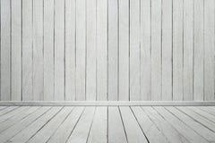 Leeren Sie weiße hölzerne Wand und Boden des hölzernen Innenraumes Stockfotografie