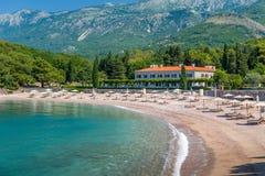 Leerer adriatisches Seestrand Stockbild
