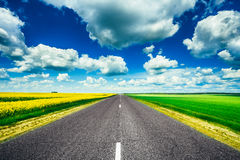 Leerer Asphalt Countryside Road Through Fields mit Stockbild
