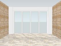 Leerer Büroraum mit Fenster und dekorativer Wandtäfelung vektor abbildung