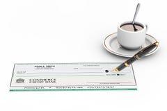 Leerer Bankscheck und Füllfederhalter stock abbildung