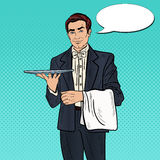 Leerer Behälter Knall-Art Professional Waiter Man Holdings Lizenzfreies Stockfoto