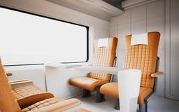Leerer bequemer moderner orange Farbledersessel innerhalb des Business-Class-Kabinen-schnelle Geschwindigkeits-Zugs Weißes Fenste Stockfoto