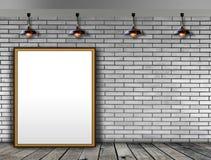 Leerer Bilderrahmen auf der Backsteinmauer Lizenzfreies Stockfoto