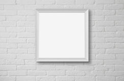 Leerer Bilderrahmen an der Wand Stockbild