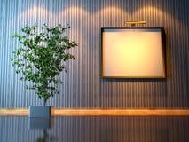Leerer Bilderrahmenaufbau mit Ficus Lizenzfreie Abbildung
