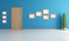 Leerer blauer Innenraum mit Tür stock abbildung