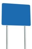 Leerer blauer Verkehrsschild-lokalisierter großer Perspektiven-Kopien-Raum-weißer Rahmen-Straßenrand-Wegweiser-Schild-Pole-Beitra Lizenzfreie Stockbilder