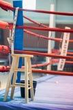 Leerer Boxring mit roten Seilen für Match lizenzfreies stockbild