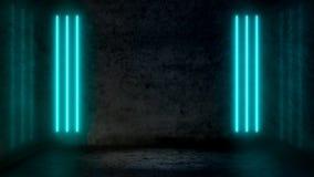 Leerer dunkler abstrakter Raum mit blauen Leuchtstoff Neonpastelllichtern lizenzfreie abbildung