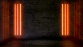 Leerer dunkler abstrakter Raum mit orange Leuchtstoff Neonlichtern vektor abbildung