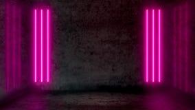 Leerer dunkler abstrakter Raum mit Rosaleuchtstoff Neonlichtern lizenzfreie abbildung