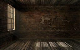 Leerer dunkler alter verlassener Raum mit alter gebrochener Backsteinmauer und alter Massivholzboden mit Volumen beleuchten durch Lizenzfreies Stockfoto