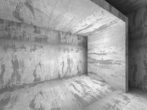 Leerer dunkler konkreter Rauminnenraum Städtischer Hintergrund der Architektur Stockfoto