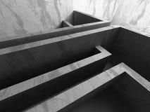 Leerer dunkler konkreter Rauminnenraum Städtischer Hintergrund der Architektur Stockfotografie