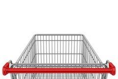 Leerer Einkaufswagen getrennt auf Weiß Lizenzfreie Stockfotos