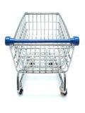 Leerer Einkaufswagen von der Ansicht des Käufers Stockfotos