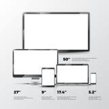 Leerer Fernsehschirm, lcd-Monitor, Notizbuch, Tablet-Computer, Smartphonemodelle lokalisiert auf weißem Hintergrund Lizenzfreies Stockbild