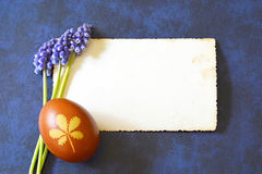 Leerer Fotorahmen, Osterei und Frühlingsblumen Stockbild