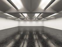 Leerer Galerieinnenraum mit dunklem Boden Lizenzfreie Stockbilder