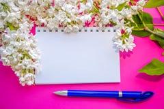 Leerer gewundener Notizblock, weiße lila Blumen und blauer Stift Lizenzfreie Stockfotografie