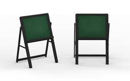 Leerer grüner Tafelstand mit dem schwarzen Holzrahmen, befestigend Stockfoto