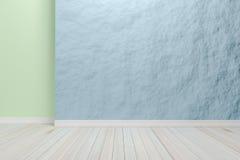 Leerer hellblauer Innenraum mit Bretterboden, für Anzeige von Lizenzfreie Stockfotos