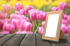 Leerer Holzrahmen auf Holztisch- und Tulpenblume archivierte Garde Stockfotos