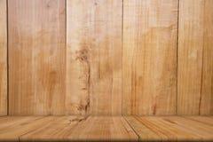 Leerer Holztisch des Brauns, Kopienraum, Spott oben, abstrakt stockfotografie