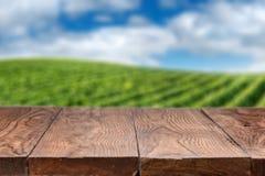Leerer Holztisch mit Weinberglandschaft Stockbilder