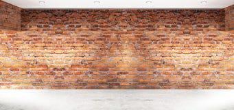Leerer Innenraum mit Backsteinmauern, Bögen des Lichtes vom Fenster Wiedergabe 3d vektor abbildung