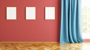 Leerer Innenraum mit drei Rahmen auf der Wand 3d überträgt Lizenzfreie Stockfotos