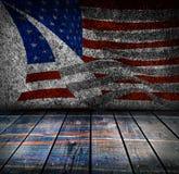 Leerer Innenraum mit Farben der amerikanischen Flagge Stockbild