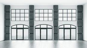 Leerer Innenraum mit großen Fenstern 3d überträgt Stockfotos