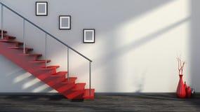 Leerer Innenraum mit roter Treppe und Vase Stockbild